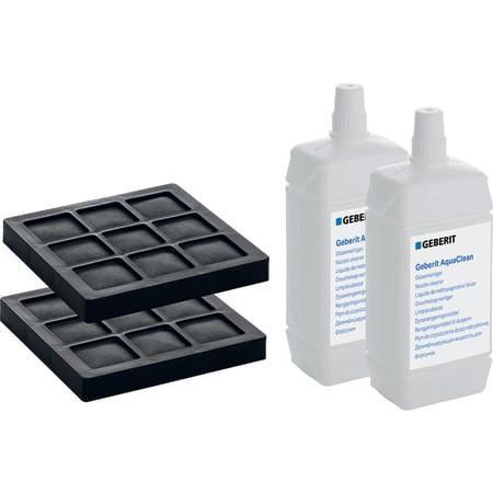 Set 2 Aktivkohlefilter und 2 Düsenreiniger für Geberit AquaClean 8000plus/Balena 8000
